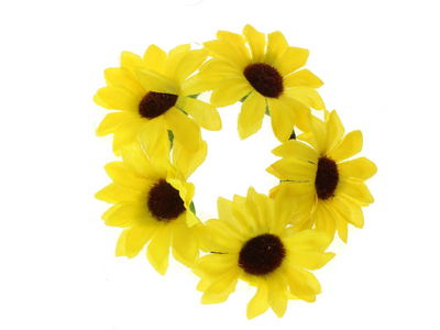 Yellow Sunflower Bun Garland Scrunchie Elastic