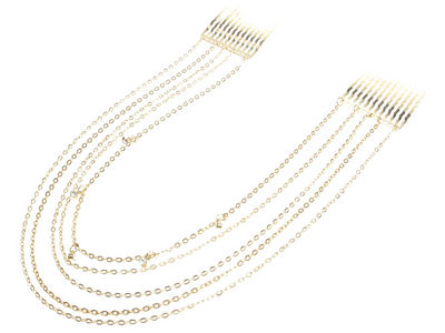 Gold Coloured Crystal Hair Chain