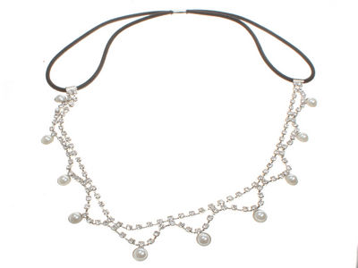Pearl Drop Crystal Brow Band Forehead Headband