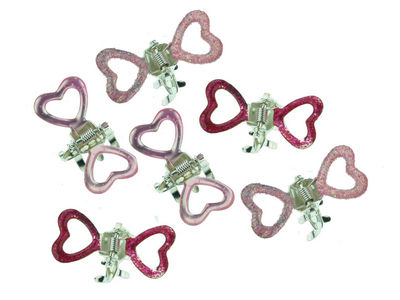 Mini Pink Heart Hair Claw Clips