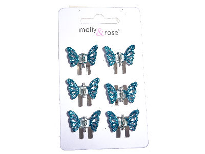 Blue Glitter Butterfly Claw Clips