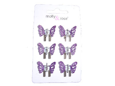 Purple Glitter Butterfly Claw Clips