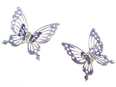 Purple Shimmer Butterfly Claw Clips