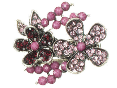 Purple Crystal Flower Side Hair Clamp Clip