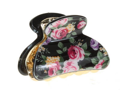 4cm Black Ditsy Floral Acrylic Hair Clamp Clip