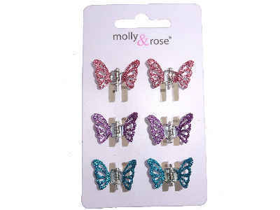 Multicolour Glitter Butterfly Claw Clips Blue