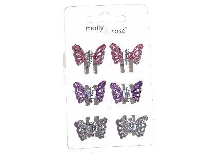 Multicolour Glitter Butterfly Claw Clips Silver