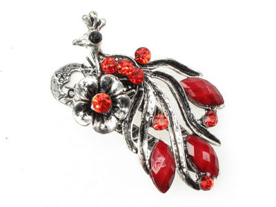 Red Vintage Peacock Mini Beak Clip
