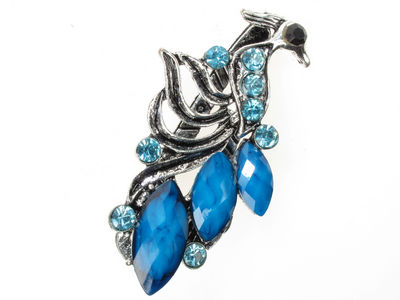 Blue Vintage Bird Mini Beak Clip