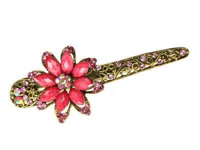 Pink Starflower Crystal Hair Jaw Clip