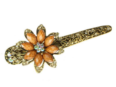 Golden Starflower Crystal Hair Jaw Clip