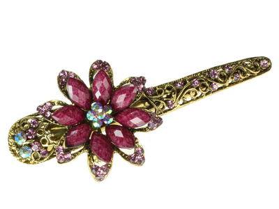 Purple Starflower Crystal Hair Jaw Clip