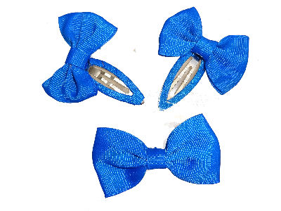 Royal Blue Bow School Hair Clip Set
