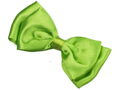 Lime Satin Bow Hair Clamp Clip