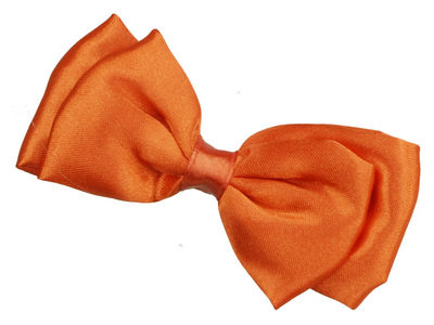 Orange Satin Bow Hair Clamp Clip