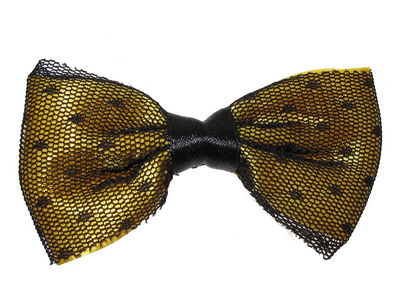 Yellow Netted Bow Hair Clamp Clip