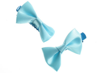 Mini Blue Satin Bow Hair Clamp Clips