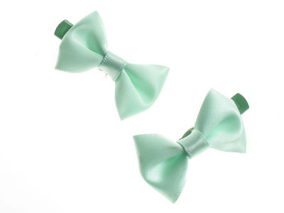 Mini Green Satin Bow Hair Clamp Clips
