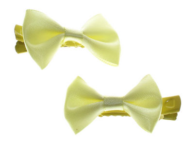 Mini Yellow Satin Bow Hair Clamp Clips