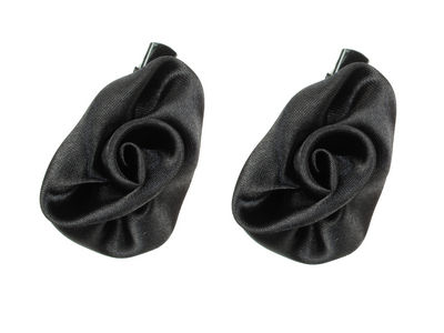 Mini Black Satin Rosette Hair Clamp Clips