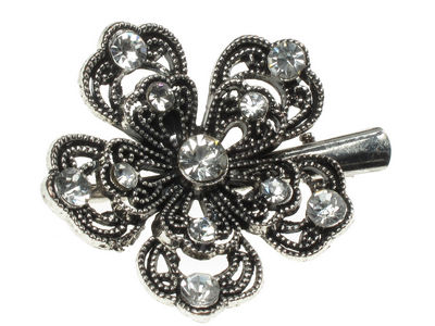 Clear Crystal Flower Hair Clamp Clip