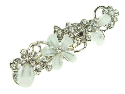 White Crystal Flower Vintage Hair Clip Clamp