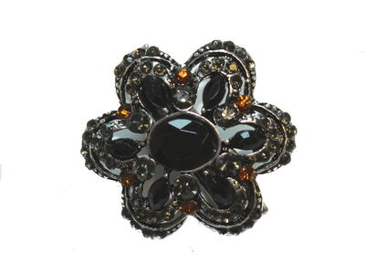 Bronze Vintage Crystal Flower Mini Hair Clip Clamp