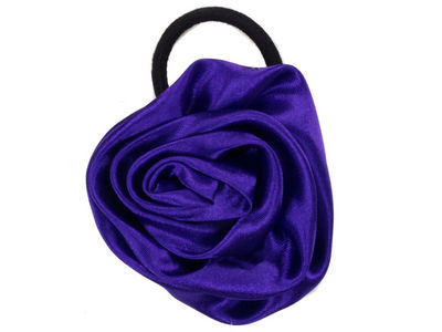 Purple Satin Rosette Ponytailer