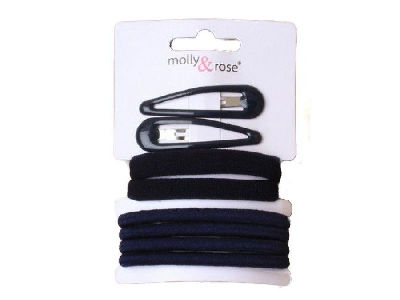 Navy Blue Elastic Hair Bobble and Clip School Set