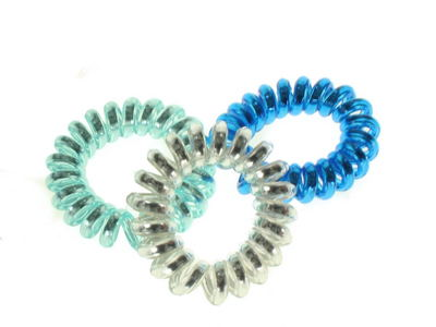 Blue Metallic Telephone Cord Scrunchie Hair Bobbles
