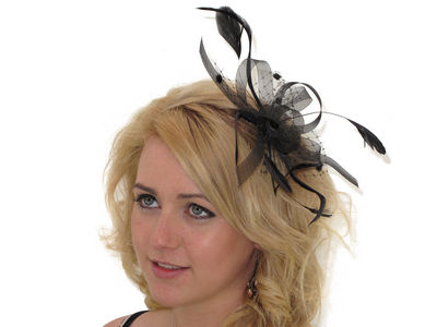 Black Looped Ribbon and Net Fascinator