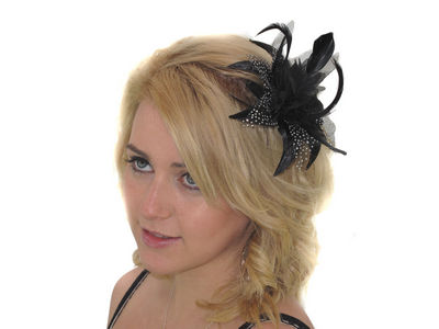 Black Spotted Fascinator