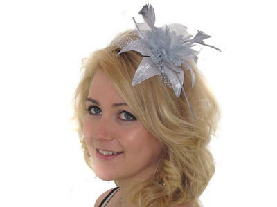 Silver Grey Spotted Fascinator