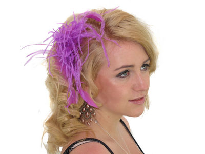 Purple Neon Floaty Feather Fascinator