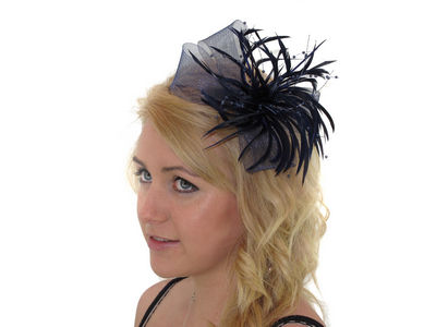 Navy Blue Bow Fascinator