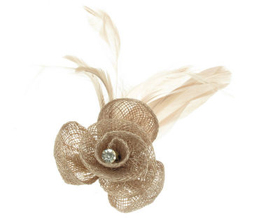 Coffee Crystal Flower Fascinator Clip