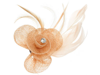 Peach Crystal Flower Fascinator Clip
