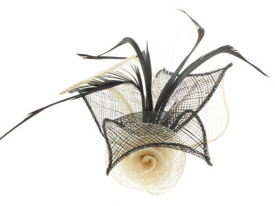 Ivory Two Tone Flower Fascinator Clip