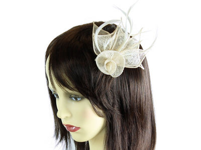 Ivory Coiled Flower Fascinator Clip