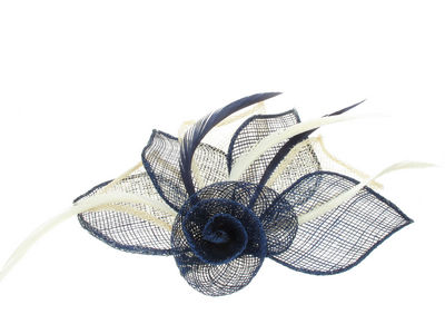 Navy/Ivory Flower Fascinator Clip