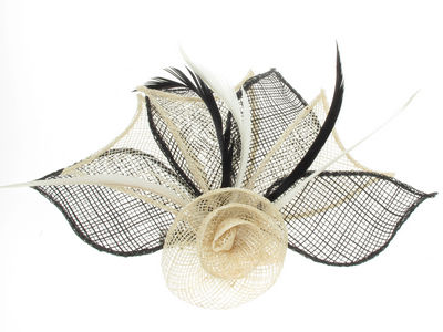 Ivory/Black Flower Fascinator Clip