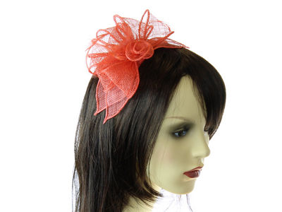 Coral Looped Flower Fascinator Band