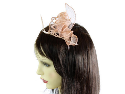 Peach Coiled Flower Fascinator Band