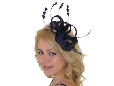 Navy Blue Sinamay Loops Fascinator
