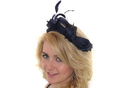 Navy Looped Fascinator Band