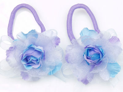 Lilac Rose Flower Hair Elastics