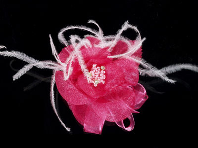 Large Fuchsia Organza Shimmer Flower Corsage