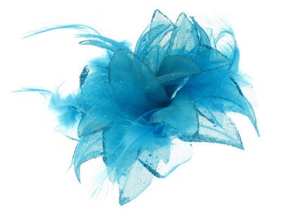 Bright Blue Glitter Flower Hair Clip