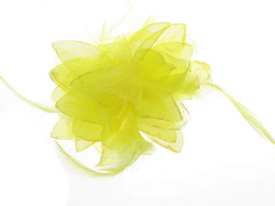 Yellow Glitter Flower Hair Clip