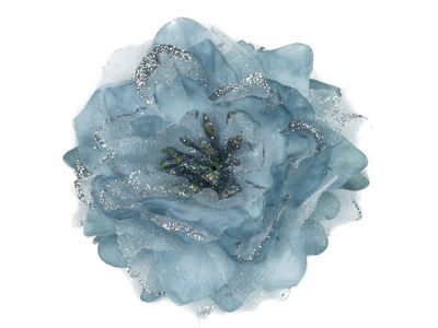 Silver Large Glitter Flower Hair Clip